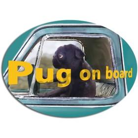 再販2!カーステッカー パグ ブラック (DOG ON BOARD / IN CAR ステッカー)