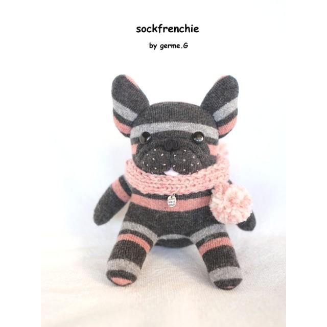 ソックフレンチブルドッグ *グレー&ピンク*