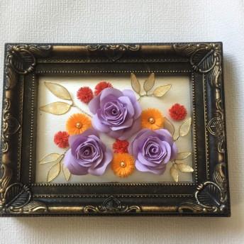 紫バラのアンティークフレーム