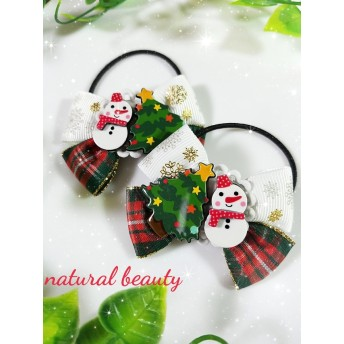 キッズ用 クリスマスにオススメ 雪の結晶柄リボンのヘアゴム