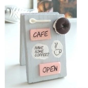 ミニチュア カフェ看板 水色