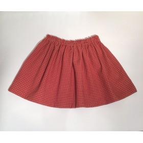 90.100size赤いチェックのギャザースカート