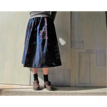 着物リメイクギャザースカート絣柄の縦パッチ