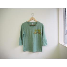 犬のTシャツ 7分袖 トイプードル 緑