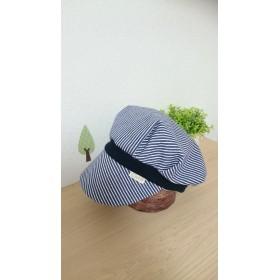 ストライプデニムのリバーシブル キャスケット帽