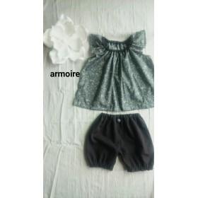 女の子のフリル袖セットアップ 100
