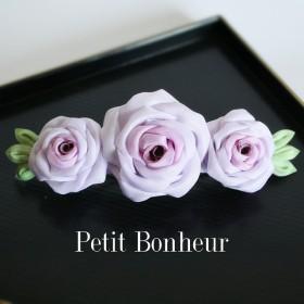 つまみ細工紫の薔薇バレッタ