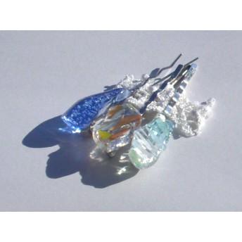 琉球ガラスカレットのヘアピン 3本セット マルチカラー・しま