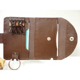 キーケース・第115作・チョコ色・多機能型・牛革【送料含む】・コインケース・財布・定期券・免許証