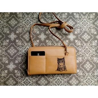 【お名前入れ無料】お財布ポシェット キャメル 猫