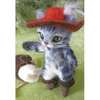 【羊毛作品ポストカード】長靴猫