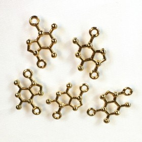分子構造 理系チャーム(4個) ゴールド 【B】102UV168