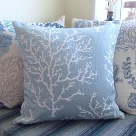 ★2色★クッションカバー【45×45cm】珊瑚 コーラルL パウダーブルー&ホワイト2色デザイン 白
