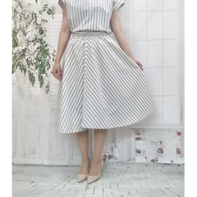 エレガスリーク*播州織ブルーストライプのホワイトスカート受注生産By Aki