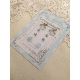 ブルーが美しいアクアマリンと淡水パールのイヤリング