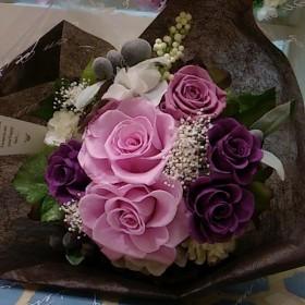 ♪プリザの生花風花束♪花束贈呈に。お好きなカラーでおつくりいたします♪