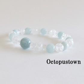 【3月の誕生石】 海の精の宝物 アクアマリンとクラック水晶のブレスレット