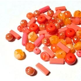 オレンジMIXビーズ 100個セット A-1
