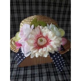 ・゚これからの季節にピッタリ ・゚ピンクのお花の麦わら帽子 ・゚