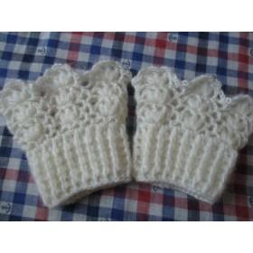 手編みカフス・モヘアの透かし編み・白 ・4D