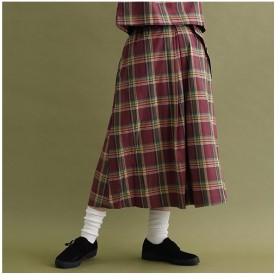 [マルイ] チェック柄ウエストベルトスカート1641/メルロー(merlot)