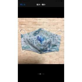 (夏&おやすみ用)布マスク/青の草花