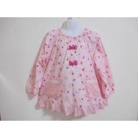 110cm♪ピンク系かわいい花柄 リボン、花柄フリル スモック♪