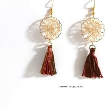tassel pierced earrings ピアス/イヤリング/樹脂ピアス/ノンホール タッセル ワイヤーフラワー ゴールド 大きめ