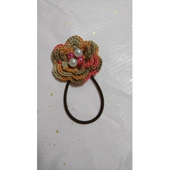 可愛いお花のヘアゴム ミックス糸
