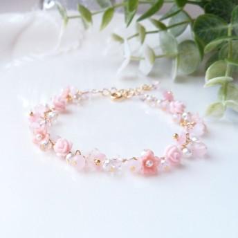 薔薇と小花のブレスレット【ピンク】