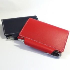 ミニ6穴 筒状ペンホルダーのシステム手帳 B7サイズ パスポートケース ヌメ床革 レッド レザー 手帳 ノート