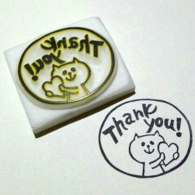 『Thank you!』ねこさん消しゴムはんこ○持ち手付き○LOBO★HANKO猫ネコ