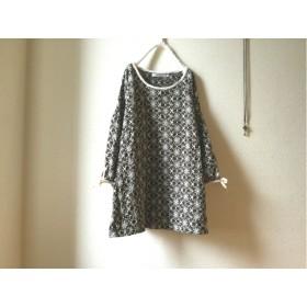 (再)ランプflower刺繍レース生地のお袖七分丈チュニ