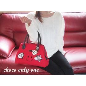 (^^♪真っ赤な帆布いつも笑顔~(にこちゃん)パカっと開くバッグ(^^♪