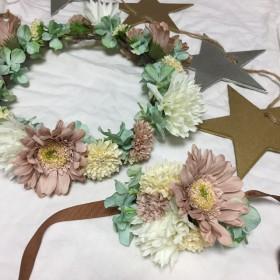 ホワイト×グリーン×ピンク ヴィンテージ アンティーク 花冠 リストレット