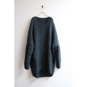 手編みモヘアロングセーター ブラック