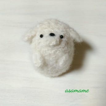 つぶらな瞳のぽっちゃりプードル さん ホワイト 2018年 干支 戌年 置物 羊毛フェルト