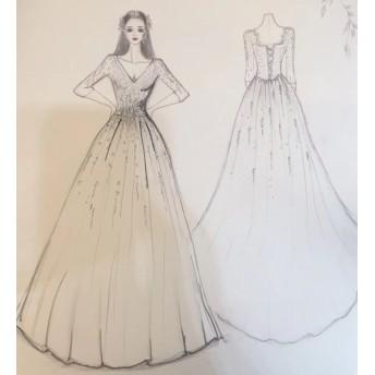 オーダーメイド,ウェディング品,ウェディングドレス,オーバースカート,ボレロ、好きなデザインでオーダー可能