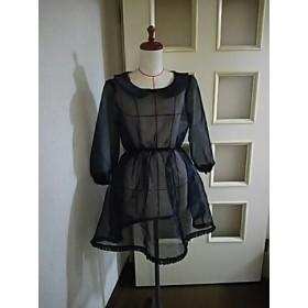 黒オーガンジー シースルーの丸衿長袖ワンピース