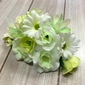髪飾り17本セット 結婚式 成人式に!ホワイト×グリーン