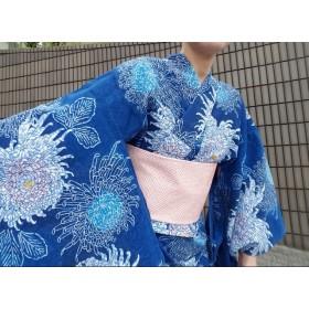 ワンタッチ浴衣 くらわん着物 リメイク 青糸菊