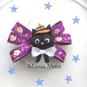 ハロウィン 黒猫 ヘアクリップ