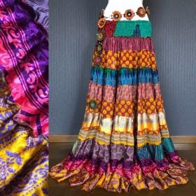 インドサリー ジプシースカート #27 *** ボヘミアン エスニック ヒッピー オリエンタル ベリーダンス 衣装