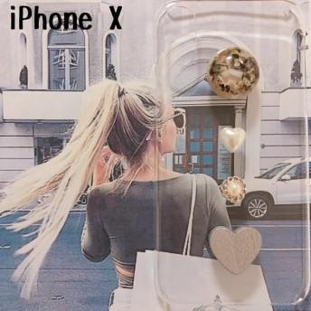 iPhoneX シェルカボションとシルバーハート ケース