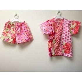 ca025eb40b7de お姫様 じんべい 桃色 ピンクの桜柄ふりふり 甚平ドレス 女の子 甚平 和 ...