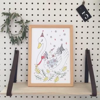 北欧風白鳥のインテリアポスター