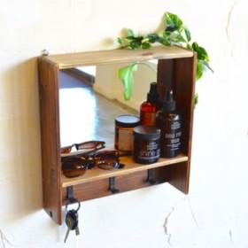 ボックスシェルフミラー 3連フック 壁掛け鏡 アンティーク風 ブラウン 鏡 ミラー