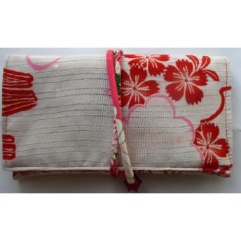 2857 撫子の花柄の着物で作った和風財布・ポーチ