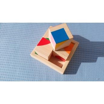 図形あわせパズル【木製キューブ】