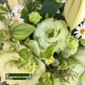 【生花】ホワイト×グリーンのブライダルフラワーのようなアレンジメントL